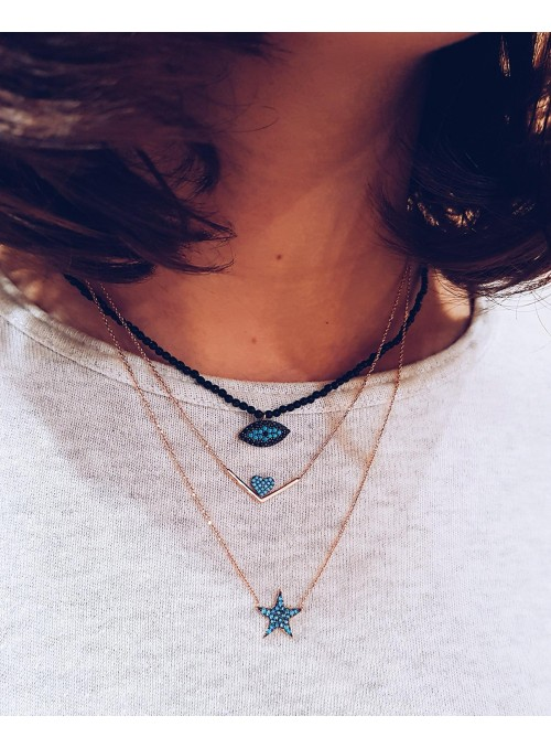 Collar Chain Star Blue
