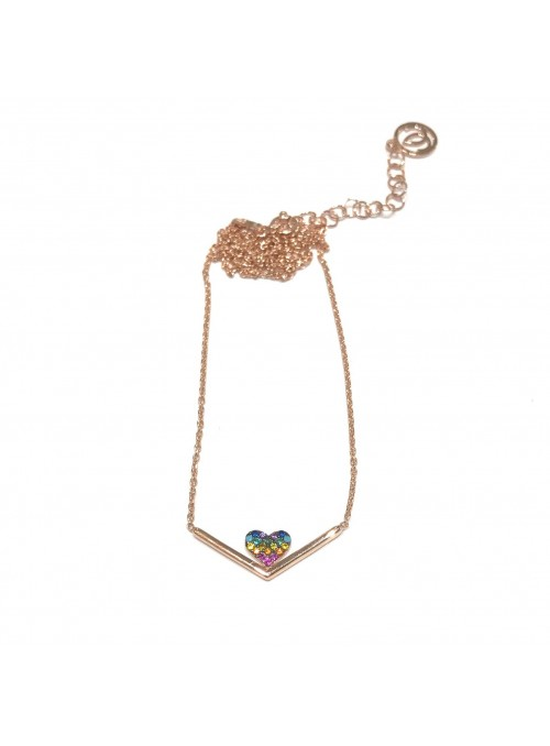 Collar Chain Heart Rainbow